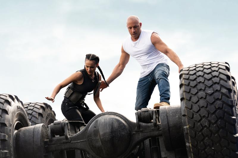 (from left) Ramsey (Nathalie Emmanuel) and Dom (Vin Diesel) in F9, directed by Justin Lin.