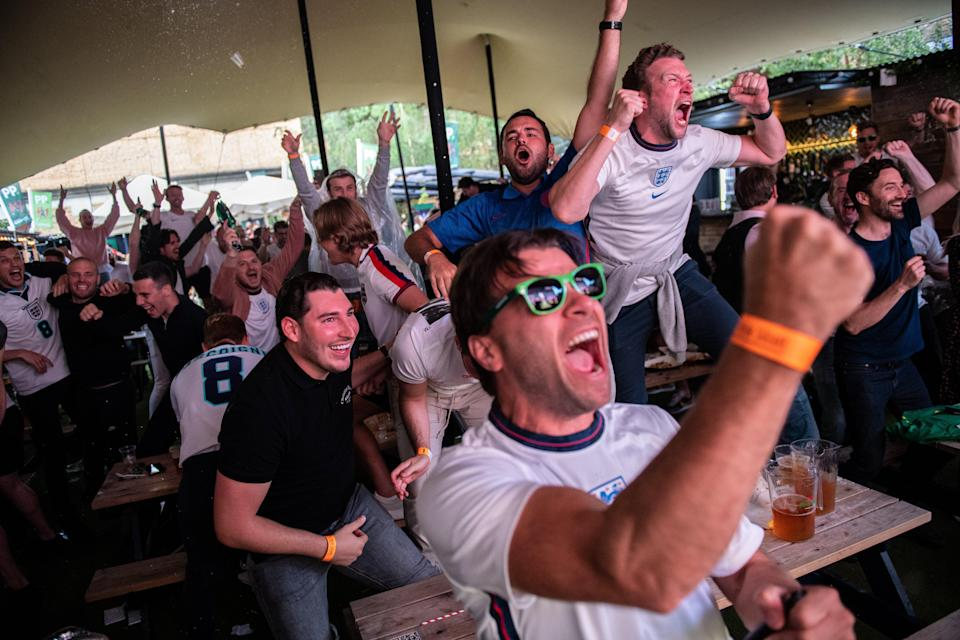 England football fans celebrate at Flat Iron Square (Getty Images)