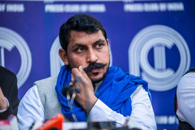 Bhim Army chief Chandrashekhar Azad speak to media during a press conference at the Press Club of India, on February 12, 2020 in New Delhi.