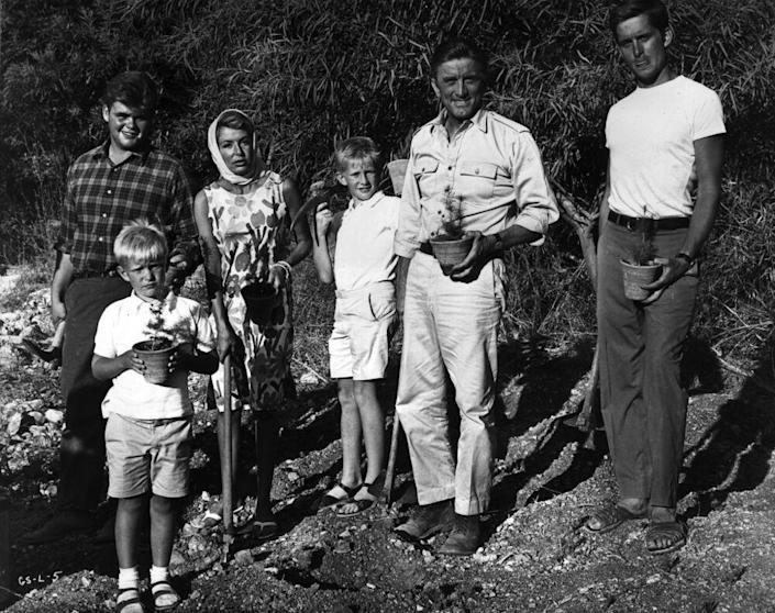 Kirk Douglas with his wife Anne and his four sons: Joel, Peter, Eric and Michael Douglas | Hulton Archive/Getty