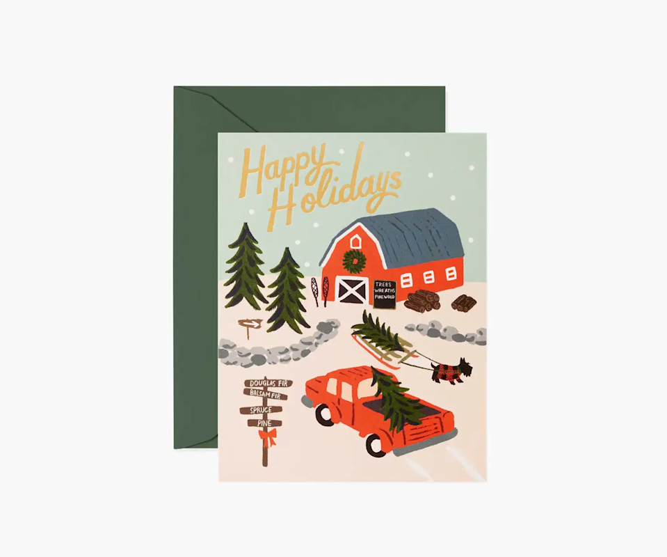 """<strong><h3>Rifle Paper Co.</h3></strong><br>Along with planners, office supplies, and home decor, Rifle Paper Co. also stocks a load of sweet hand-painted looking greeting cards. Their selection includes the perfect mix of whimsical and classic designs.<br><br>Shop <a href=""""https://riflepaperco.com/"""" rel=""""nofollow noopener"""" target=""""_blank"""" data-ylk=""""slk:Rifle Paper Co."""" class=""""link rapid-noclick-resp"""">Rifle Paper Co.</a><br><br><strong>Rifle Paper Co</strong> Holiday Tree Farm (8), $, available at <a href=""""https://go.skimresources.com/?id=30283X879131&url=https%3A%2F%2Friflepaperco.com%2Fholiday-tree-farm-greeting-card"""" rel=""""nofollow noopener"""" target=""""_blank"""" data-ylk=""""slk:Rifle Paper Co"""" class=""""link rapid-noclick-resp"""">Rifle Paper Co</a>"""