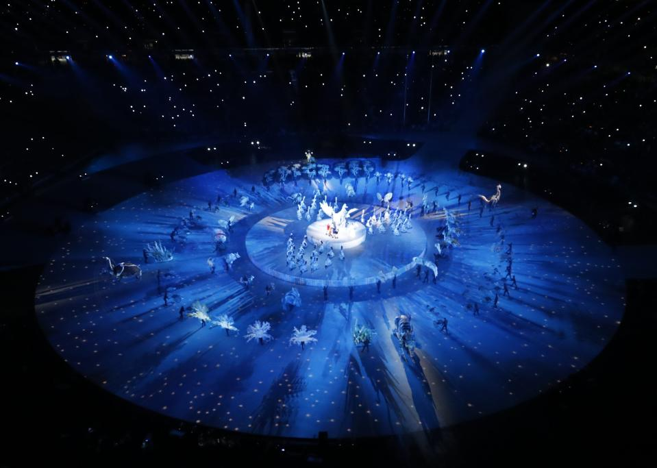 <p>A general view shows the opening ceremony. REUTERS/Pawel Kopczynski </p>