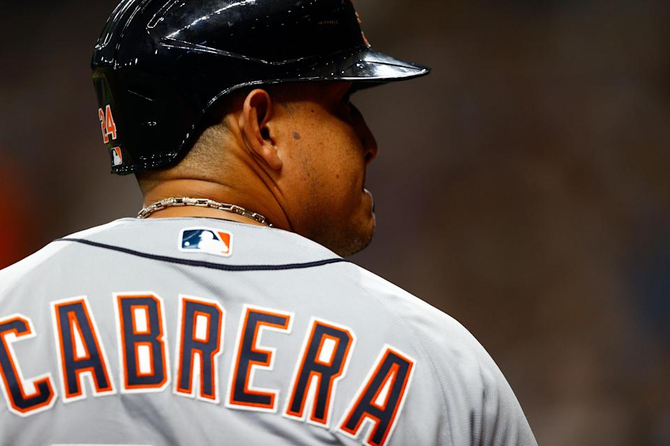 Detroit Tigers first baseman Miguel Cabrera (24) looks on in the eighth inning Sept. 18, 2021 against the Tampa Bay Rays at Tropicana Field.