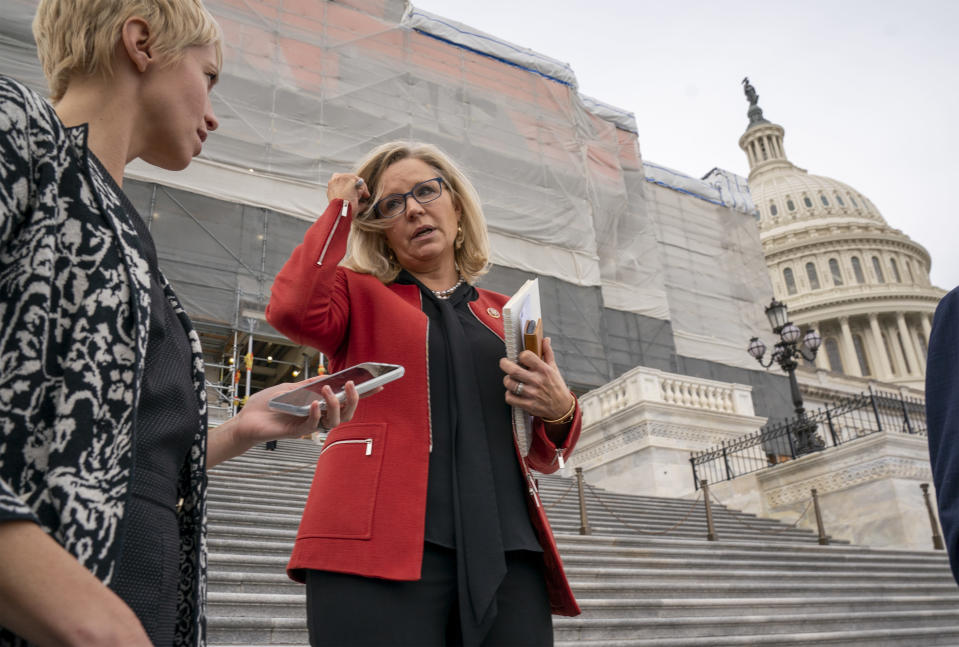 FILE - In this Jan. 10, 2020, file photo, Rep. Liz Cheney, R-Wyo., speaks with reporters as lawmakers leave the Capitol in Washington. The Wyoming Republican Party central committee will likely vote Saturday, Feb. 6, 2021, on whether to censure Liz Cheney for her vote to impeach Donald Trump, the latest backlash for the rising GOP leader and daughter of a former vice president who is facing the wrath of Trump loyalists vowing to make her pay. (AP Photo/J. Scott Applewhite, File)