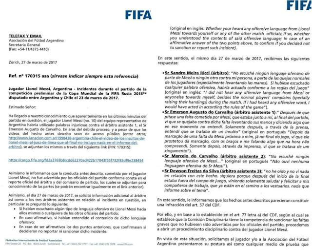 The letter, published in Olé, confirms the officials did not hear what Messi said (Olé)
