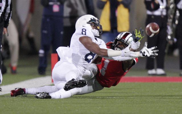Ohio State cornerback Bradley Roby, right, breaks up a pass intended for Penn State wide receiver Allen Robinson during the second quarter of an NCAA college football game Saturday, Oct. 26, 2013, in Columbus, Ohio. (AP Photo/Jay LaPrete)