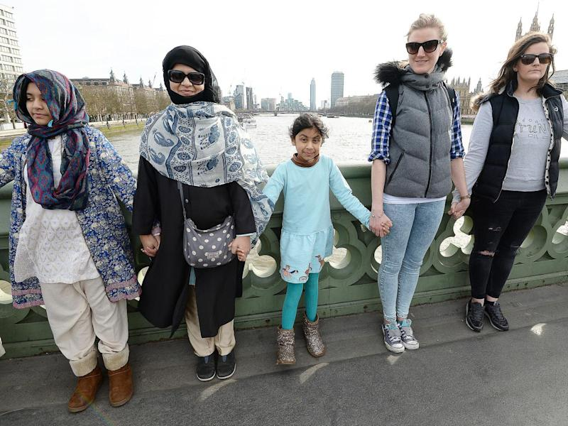 The vigil was organised by Women's March on London (PA)
