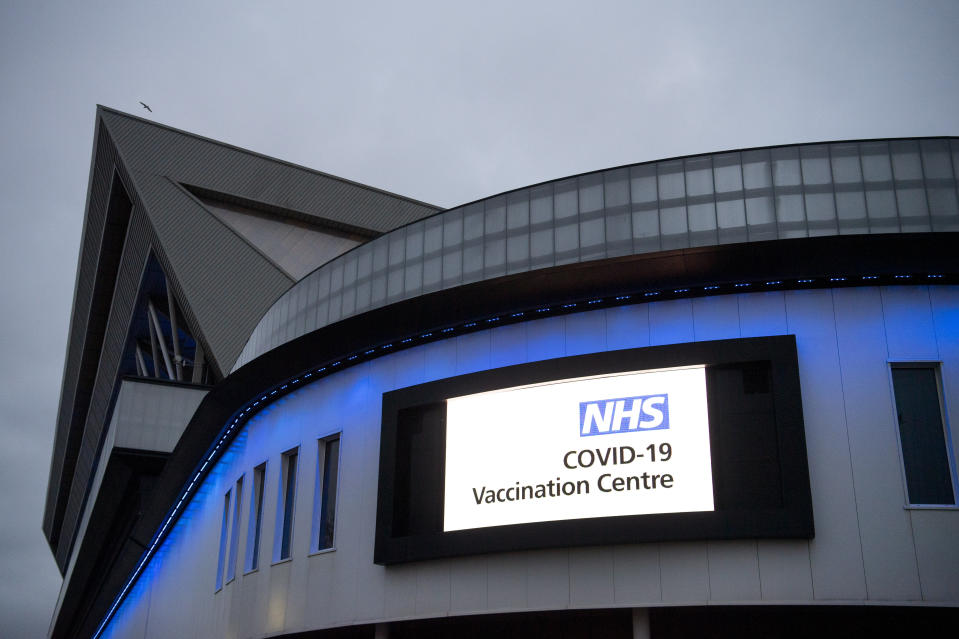 BRISTOL, ENGLAND - JANUARY 11: A general view of the mass vaccination centre at Ashton Gate Stadium on January 11, 2021 in Bristol, England. The location is one of several mass vaccination centres in England to open to the public this week. The UK aims to vaccinate 15 million people by mid-February. (Photo by Matthew Horwood/Getty Images)