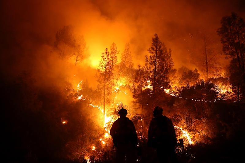 Firefighters battle the Mendocino Complex fire in Northern California. (Justin Sullivan via Getty Images)