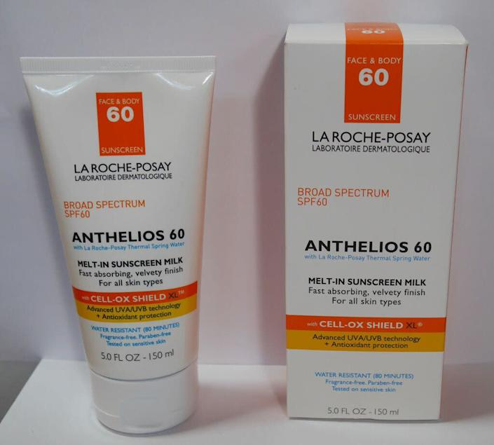 """&ldquo;Laroche-Posay always does well on consumer reports,&rdquo; Saedi said. &ldquo;One reason is that it&rsquo;s SPF 60, which is actually accurate. And the other reason is that it goes on really smoothly.&rdquo;&lt;br&gt;&lt;br&gt;&nbsp;A lot of people don&rsquo;t like wearing sunscreen because it makes them look chalky or, if they&rsquo;re walking or biking to work, it melts on your face. &ldquo;This sunscreen just feels really nice and doesn&rsquo;t leave a residue. It also doesn&rsquo;t have any of the chemical ingredients so it&rsquo;s great for reapplying,&rdquo; she said.&lt;br&gt;&lt;br&gt;&nbsp;&ldquo;Most people are really bad about reapplying,&rdquo; Saedi said, &ldquo;You should reapply every two hours and even more frequently if you&rsquo;ll be in the water.&rdquo;&lt;br&gt;&lt;br&gt;<strong>&nbsp;</strong><a href=""""https://www.laroche-posay.us/sunscreen/anthelios-melt-in-sunscreen-milk-spf-60-antheliosmeltinmilk.html"""" rel=""""nofollow noopener"""" target=""""_blank"""" data-ylk=""""slk:Laroche-Posey Melt in Sunscreen Milk"""" class=""""link rapid-noclick-resp""""><strong>Laroche-Posey Melt in Sunscreen Milk</strong></a><strong>, $36</strong>"""