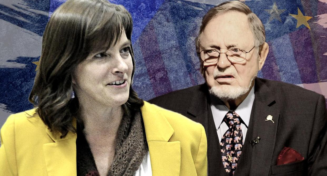 Alyse Galvin, Don Young. (Photo-illustration: Yahoo News; photos: Michael Dinneen/AP, Mark Thiessen/AP, Getty Images)
