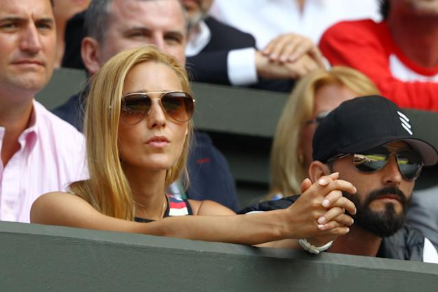 LONDON, ENGLAND - JULY 07: Jelena Ristic, the girlfriend of Novak Djokovic of Serbia watches his Gentlemen's Singles Final match against Andy Murray of Great Britain on day thirteen of the Wimbledon Lawn Tennis Championships at the All England Lawn Tennis and Croquet Club on July 7, 2013 in London, England. (Photo by Clive Brunskill/Getty Images)
