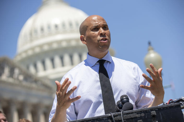 Sen. Cory Booker, D-N.J., at a news conference in July. (Photo: Alex Edelman/Getty Images)
