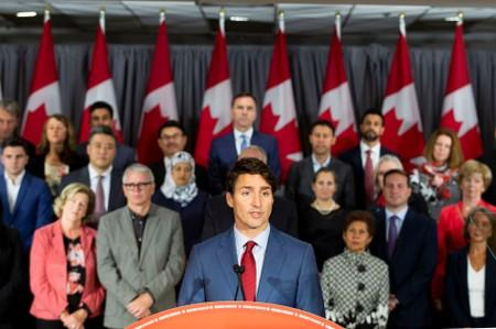 FILE PHOTO - Canada's PM Trudeau speaks during an election campaign stop in Toronto
