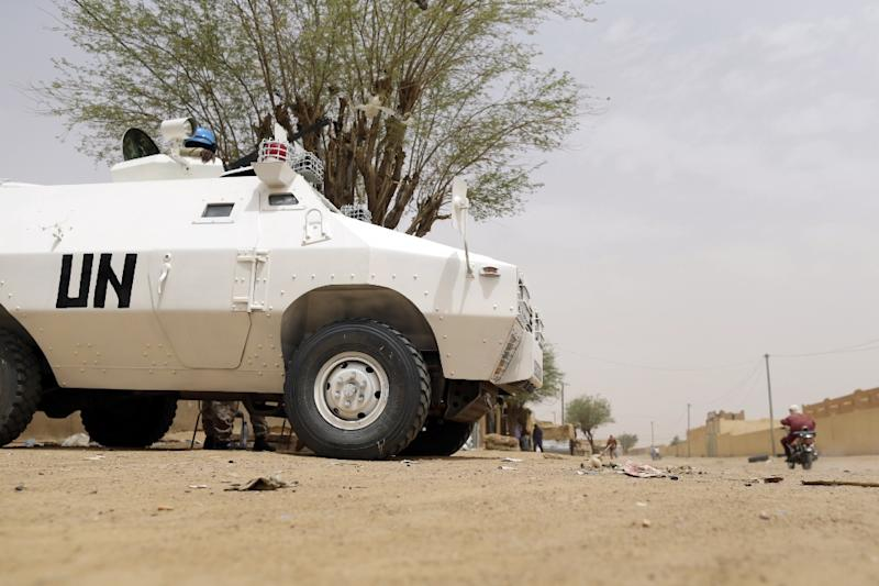 UN soldiers patrol in the northern Malian city of Kidal on July 27, 2013 (AFP Photo/Kenzo Tribouillard)