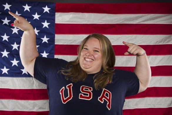Weightlifter Holley Mangold poses for a portrait during the 2012 U.S. Olympic Team Media Summit in Dallas, May 13, 2012.