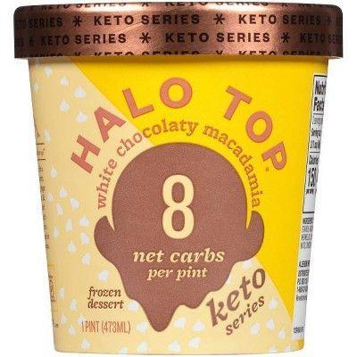 """<p><strong>Halo Top</strong></p><p>target.com</p><p><strong>$3.99</strong></p><p><a href=""""https://www.target.com/p/-/A-78602395"""" rel=""""nofollow noopener"""" target=""""_blank"""" data-ylk=""""slk:Shop Now"""" class=""""link rapid-noclick-resp"""">Shop Now</a></p><p>The popular brand known for its low-cal pints has also hopped on the keto bandwagon. Made with erythritol and stevia, the white chocolate and macadamia variety has a nice touch of saltiness to balance out the sweet.</p><p><em>Per 2/3 cups: 150 cals, 12g fat; 15g carbs; 2g total sugar, 2g added sugar; 9g sugar alcohol; 6g protein</em></p>"""
