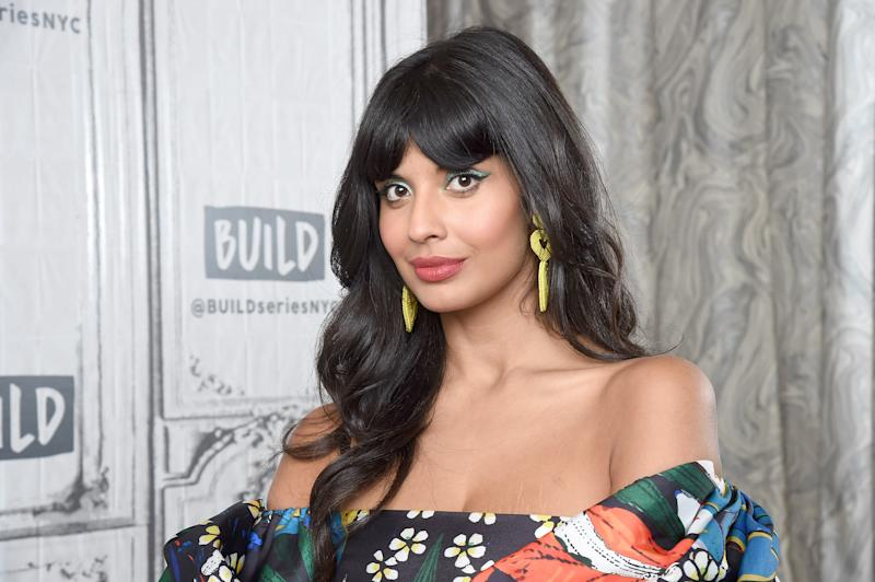 "NEW YORK, NEW YORK - SEPTEMBER 26: Actress and activist Jameela Jamil visits the Build series to discuss the NBC series ""The Good Place"" and the ""I Weigh"" movement at Build Studio on September 26, 2019 in New York City. (Photo by Gary Gershoff/Getty Images)"