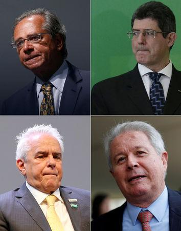 A combination picture shows Economy Minister Guedes, the President of the BNDES Levy, Castello Branco, the new CEO of Brazil's state-run oil company Petrobras and Banco Bradesco SA CEO Novaes