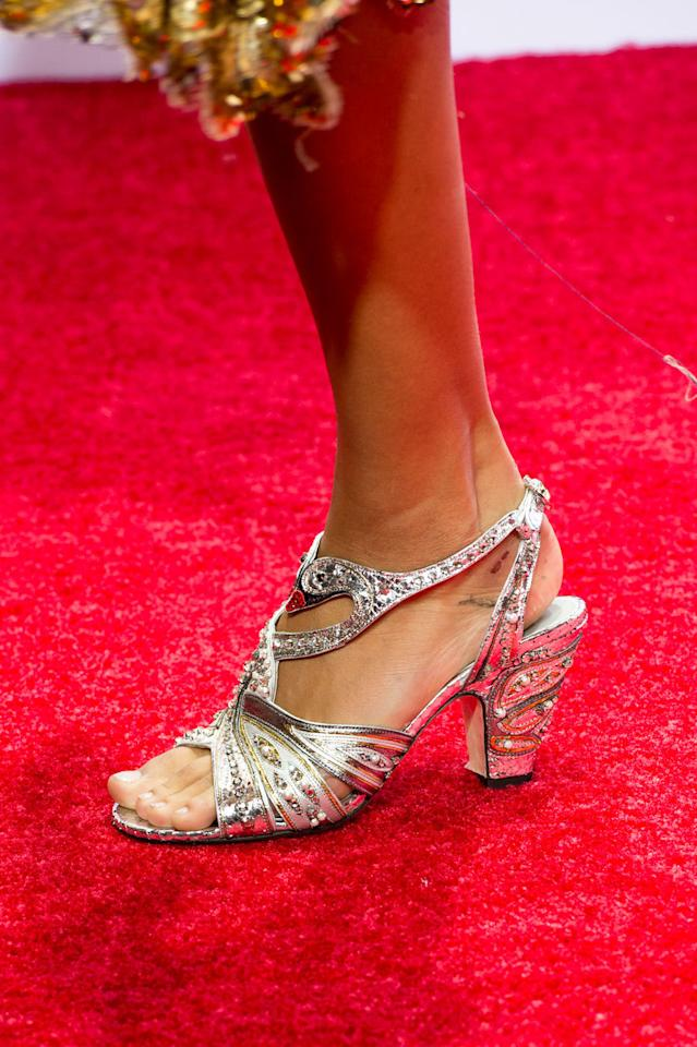 <p>Styling tip: If you're more confident with the maximal look, wear the decadent heels with an outfit in a contrasting color to create a stronger visual impact. Silver heels with a cherry-red dress, anyone?<i> (Photo: ImaxTree)</i></p>