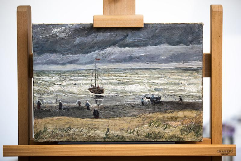 The painting view of the Sea at Scheveningen (1882) by Vincent van Gogh (1853 - 1890) is pictured after it was returned back to the permanent collection at the Van Gogh Museum's in Amsterdam on April 16, 2019. - Two works, 'View of the Sea at Scheveningen' (1882) and 'Congregation Leaving the Reformed Church in Nuenen' by Van Gogh were stolen in 2002. During an investigation into the Camorra, Naples mafia, they were found in Italy. The paintings have recently been researched and restored. (Photo by Jeroen Jumelet / ANP / AFP) / Netherlands OUT / RESTRICTED TO EDITORIAL USE - MANDATORY MENTION OF THE ARTIST UPON PUBLICATION - TO ILLUSTRATE THE EVENT AS SPECIFIED IN THE CAPTION (Photo credit should read JEROEN JUMELET/AFP via Getty Images)