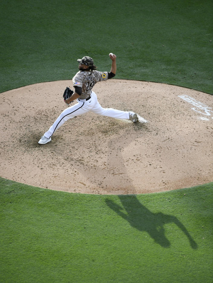 San Diego Padres relief pitcher Dinelson Lamet delivers during the sixth inning of a baseball game against the St. Louis Cardinals Sunday, May 16, 2021, in San Diego. (AP Photo/Denis Poroy)