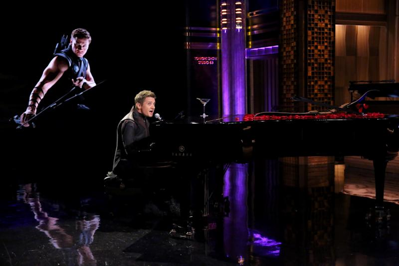 "THE TONIGHT SHOW STARRING JIMMY FALLON -- Episode 0251 -- Pictured: Actor Jeremy Renner during the ""Hawkeye Sings"" bit on April 28, 2015 -- (Photo by: Douglas Gorenstein/NBCU Photo Bank/NBCUniversal via Getty Images via Getty Images)"