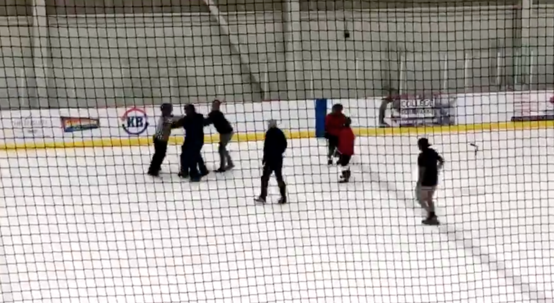 A fight reportedly involving coaches and a referee occurred at a youth hockey game in Lethbridge, Alb., on Sunday. (Twitter // @DuckMillard)