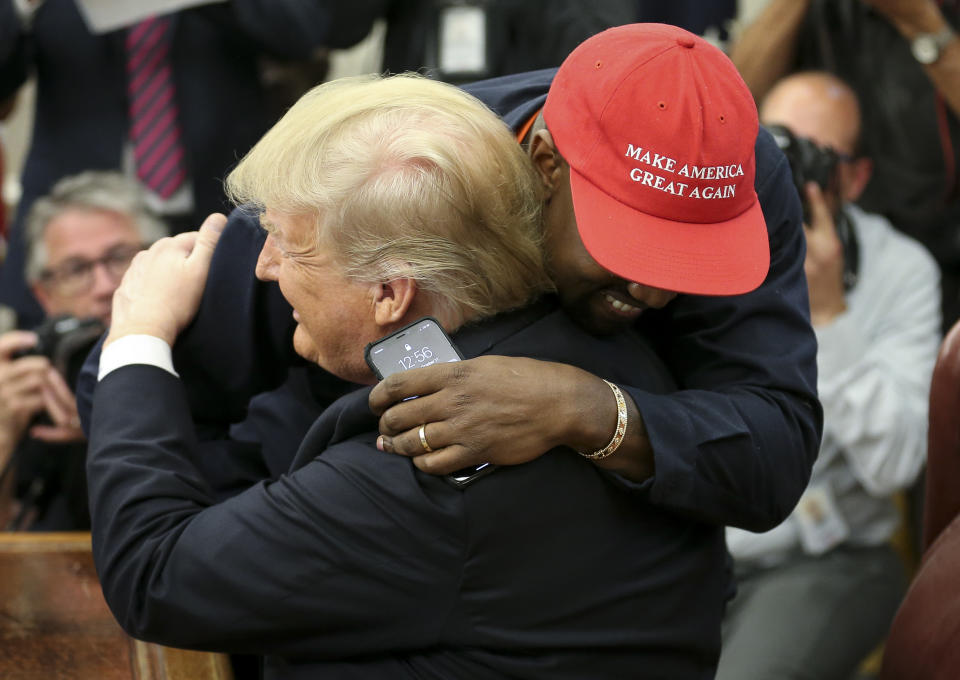 Rapper Kanye West hugs President Donald Trump during a visit at the White House in 2018. (Photo: Oliver Contreras - Pool/Getty Images)