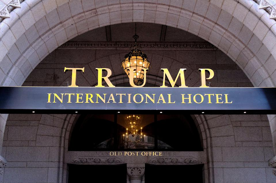 The north face of the Trump International Hotel is seen in this general view. Monday, March 11, 2019, in Washington D.C. (AP Photo/Mark Tenally)
