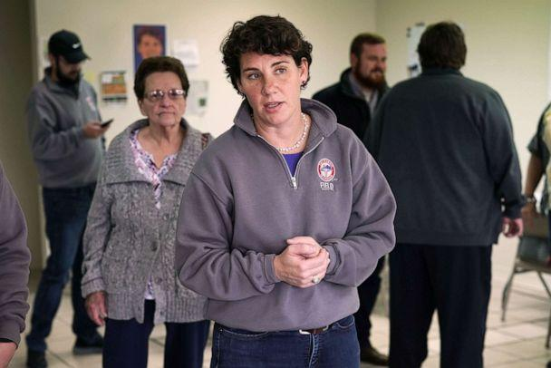 PHOTO: In this Nov. 3, 2018, file photo, House of Representatives candidate for Kentucky's Sixth Congressional District, Amy McGrath, speaks to campaign volunteers during a canvassing launch in Stanton, Ky. (Alex Wong/Getty Images, FILE)