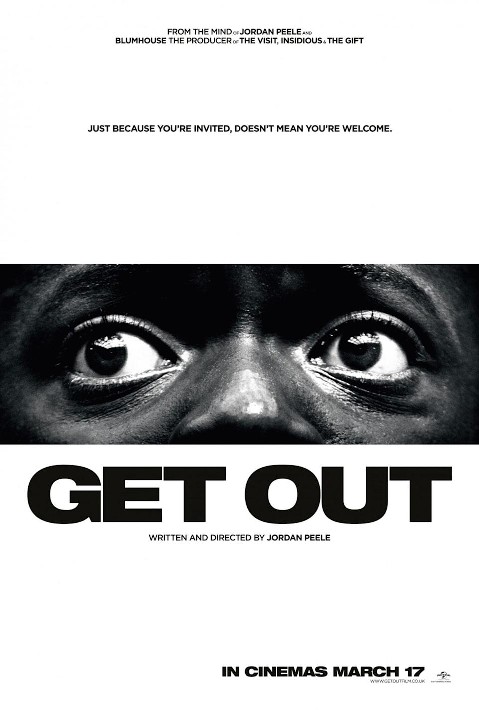 <p>This horrendously effective poster for horror thriller 'Get Out' has been stripped all the way back from its key art until all that remains is the movie in essence: fear and helplessness. The simple black and white colour highlights the starkness of the image, and Daniel Kaluuya's expression does all the heavy lifting. You want to know more. </p>