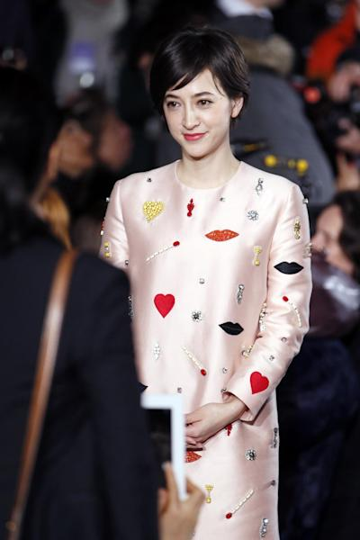 Christel Takigawa, Japanese TV host and Tokyo 2020 ambassador, pictured at a Stella McCartney fashion show in Paris on March 3, 2014 (AFP Photo/Patrick Kovarik)