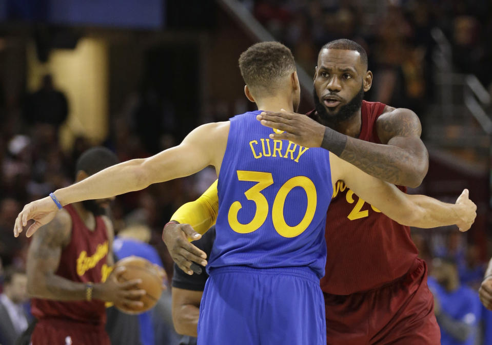 LeBron James and Stephen Curry are now in line to be the two captains for the 2018 NBA All-Star Game. (AP)