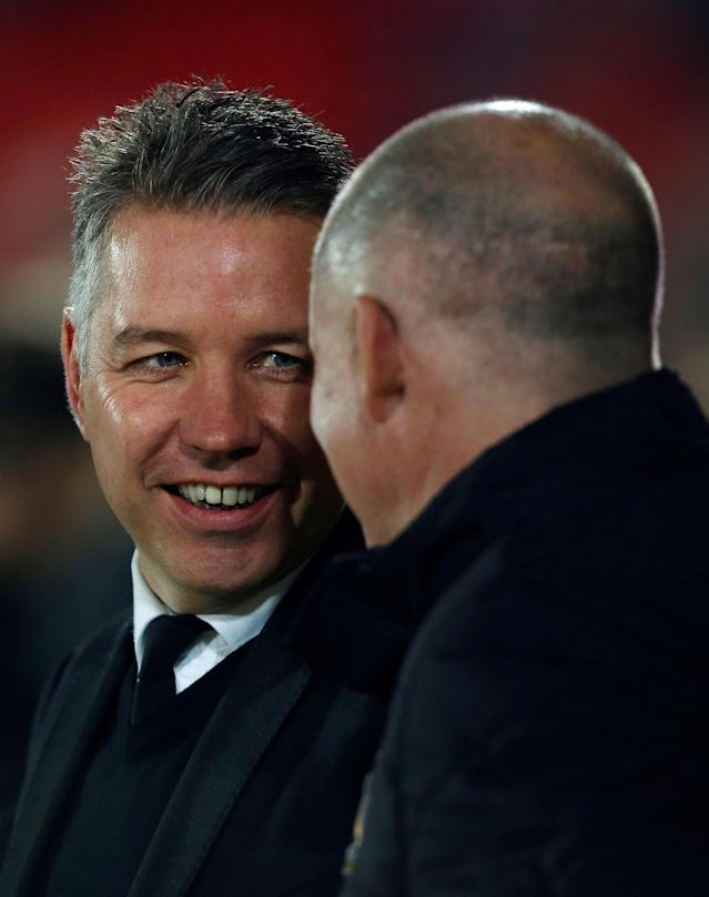 "Soccer Football - League One - Doncaster Rovers vs Bradford City - Keepmoat Stadium, Doncaster, Britain - March 19, 2018 Doncaster Rovers Manager Darren Ferguson with Bradford City Manager Simon Grayson before the match Action Images/Craig Brough EDITORIAL USE ONLY. No use with unauthorized audio, video, data, fixture lists, club/league logos or ""live"" services. Online in-match use limited to 75 images, no video emulation. No use in betting, games or single club/league/player publications. Please contact your account representative for further details."