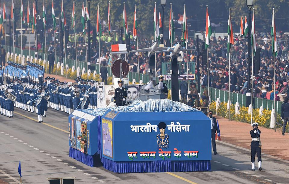 New Delhi: Members of Indian Navy contingent along with its tableau pass through Rajpath, during the 72nd Republic Day celebrations, in New Delhi, Tuesday, Jan. 26, 2021.