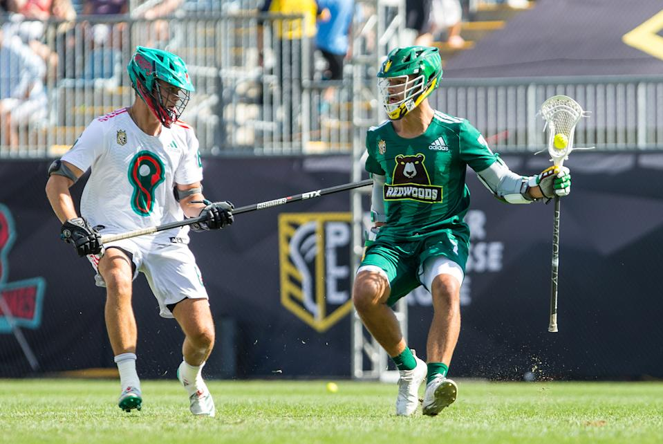 CHESTER, PA - SEPTEMBER 21: Whipsnakes LC defense Bryce Young (6) and Redwoods LC attack Jules Heningburg (7) in action during the Premier Lacrosse League Championship game between Redwoods LC and Whipsnakes LC on September 21, 2019, at Talen Energy Stadium in Chester, PA. (Photo by M. Anthony Nesmith/Icon Sportswire via Getty Images