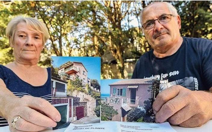 Henri and Marie-Thérèse Kaloustian, both 75, show their occupied holiday home in Théoule-sur-Mer on the Riviera - Maxime Jegat