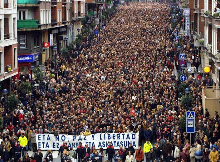 Thousands of people demonstrate against ETA in the town of Portugalete in 2002 after a bomb attack there (AFP Photo/Rafa RIVAS)