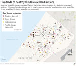 Map shows the Gaza Strip and its estimated number of destroyed structures based on satellite analysis of the region performed by the United Nations as of May 20. Israeli airstrikes, which began on May 10, have left the Palestinian territory in state of devastation