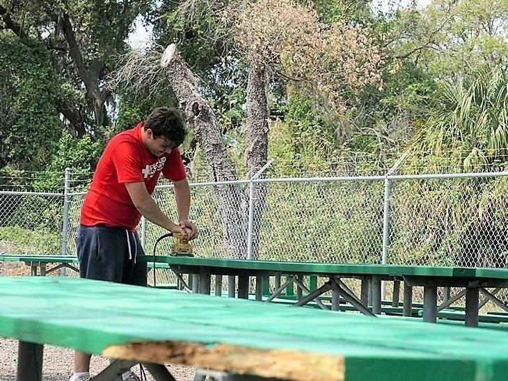 Pasco County parks staff took advantage of the closure of Veterans Memorial Park to repair and spruce up the picnic tables.