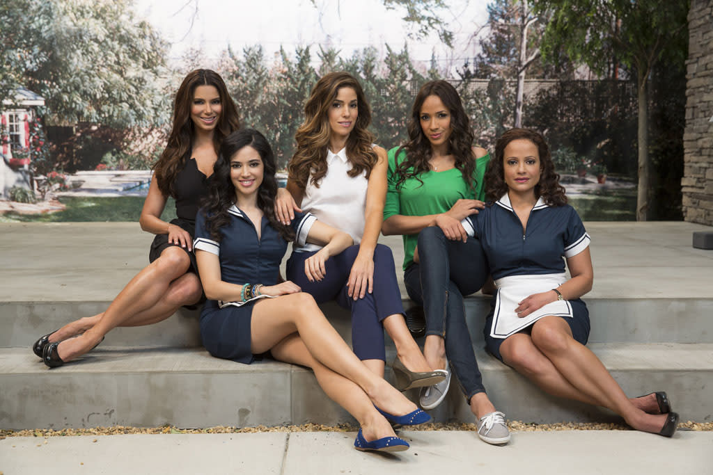 "Roselyn Sanchez, Edy Ganem, Ana Ortiz, Dania Ramirez and Judy Reyes in the Lifetime series ""Devious Maids."""