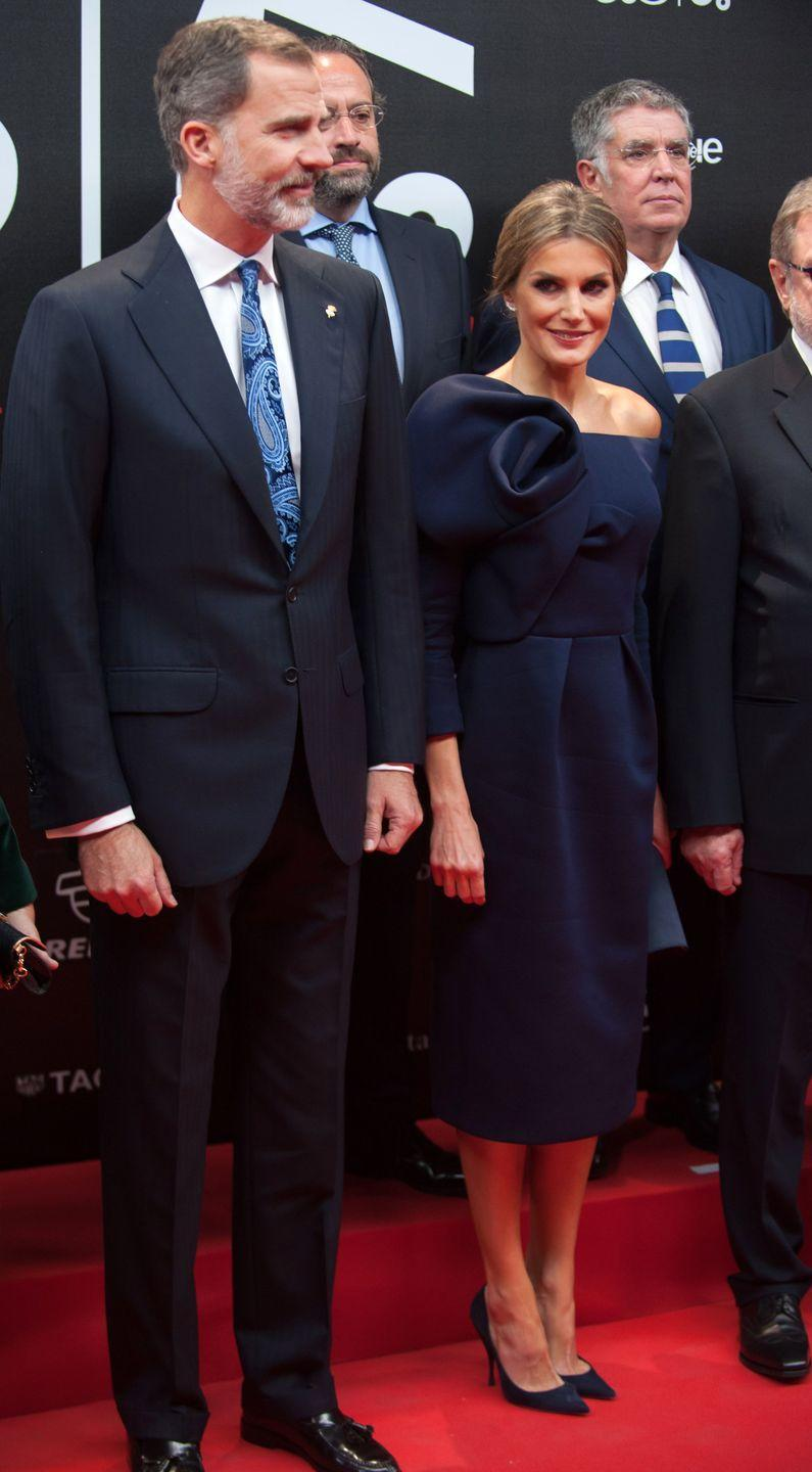<p>Letizia wore a sculptural navy Delpozo dress while attending the As Sports Award in Madrid. </p>