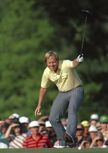 FILE - In this April 13, 1986, file photo, Jack Nicklaus watches his putt drop for a birdie on the 17th hole at Augusta National during the Masters golf tournament in Augusta, Ga. Nicklaus went on to win his sixth Masters title. Nicklaus loves absolutely everything about Augusta. Nicklaus sat in the interview room at the Masters for an hour Tuesday, April 9, 2013, and had more than enough material for two. (AP Photo/Phil Sandlin, File)