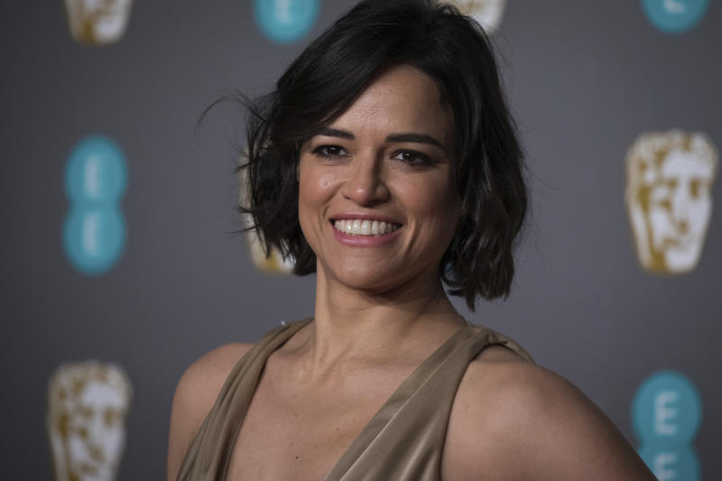 Michelle Rodriguez poses for photographers upon arrival at the BAFTA awards in London, Sunday, Feb. 10, 2019. (Photo by Vianney Le Caer/Invision/AP)
