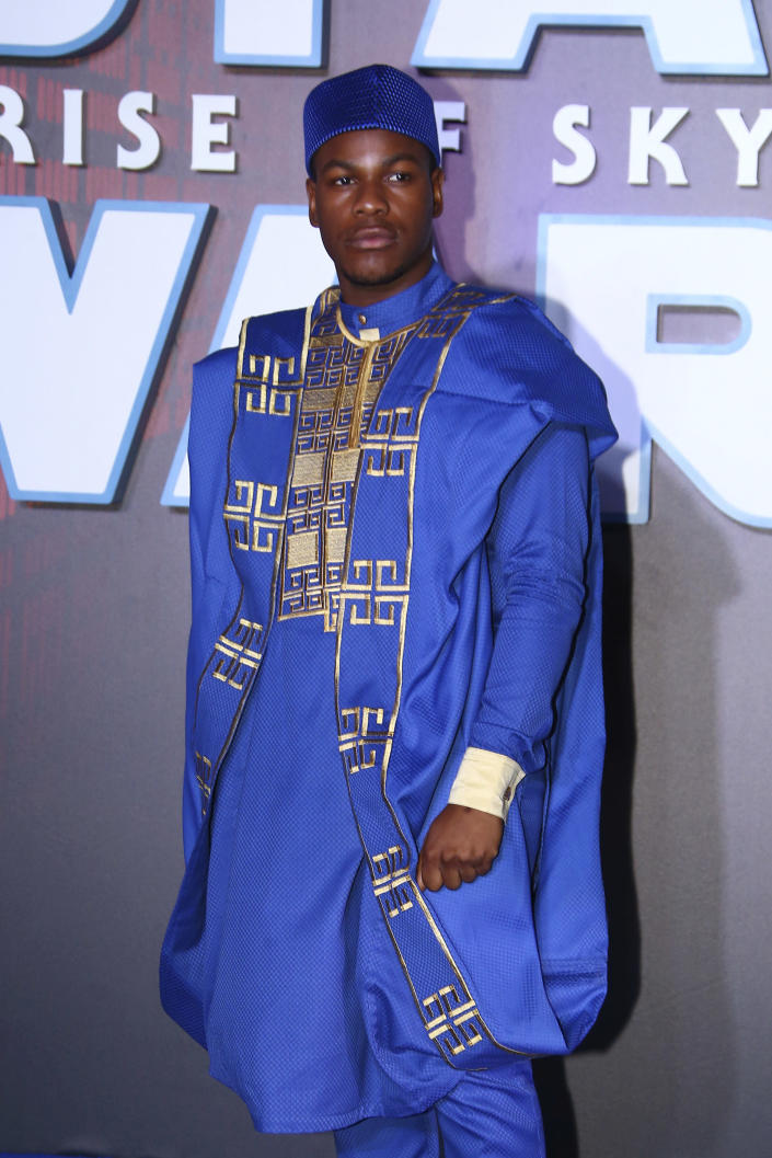 Actor John Boyega poses for photographers upon arrival at the premiere for the film 'Star Wars: The Rise of Skywalker', in central London, Wednesday, Dec. 18, 2019. (Photo by Joel C Ryan/Invision/AP)