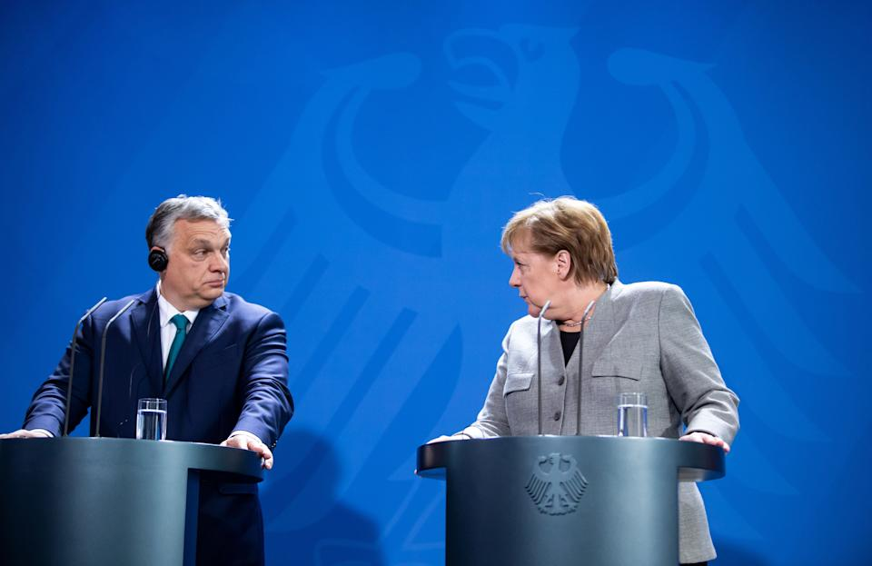 10 February 2020, Berlin: Federal Chancellor Angela Merkel (CDU) and Viktor Orban, Prime Minister of Hungary, will hold a press conference at the Federal Chancellery before their meeting. Photo: Bernd von Jutrczenka/dpa (Photo by Bernd von Jutrczenka/picture alliance via Getty Images) (Photo: picture alliance via Getty Images)