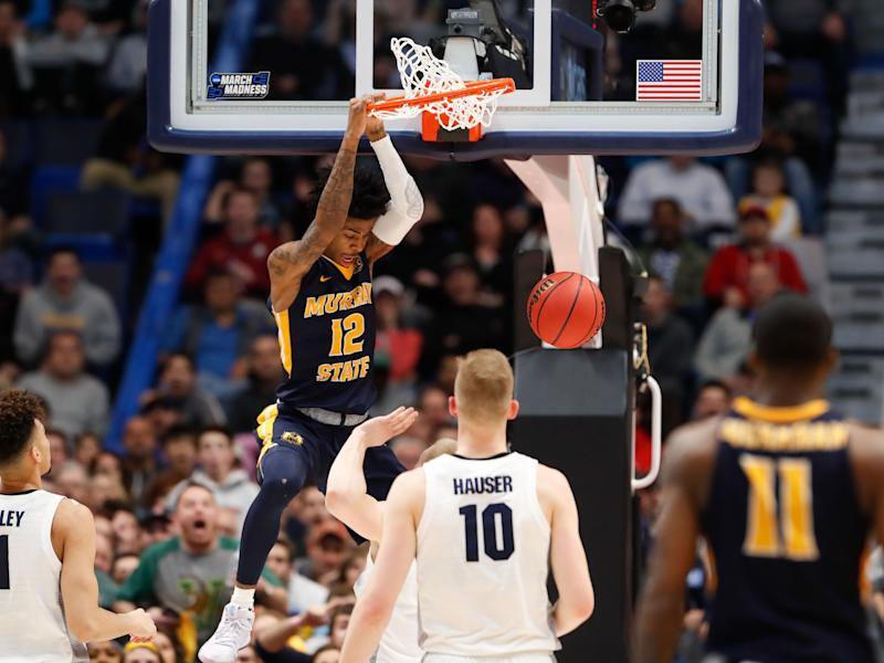 Murray State guard Ja Morant dunks against Marquette.