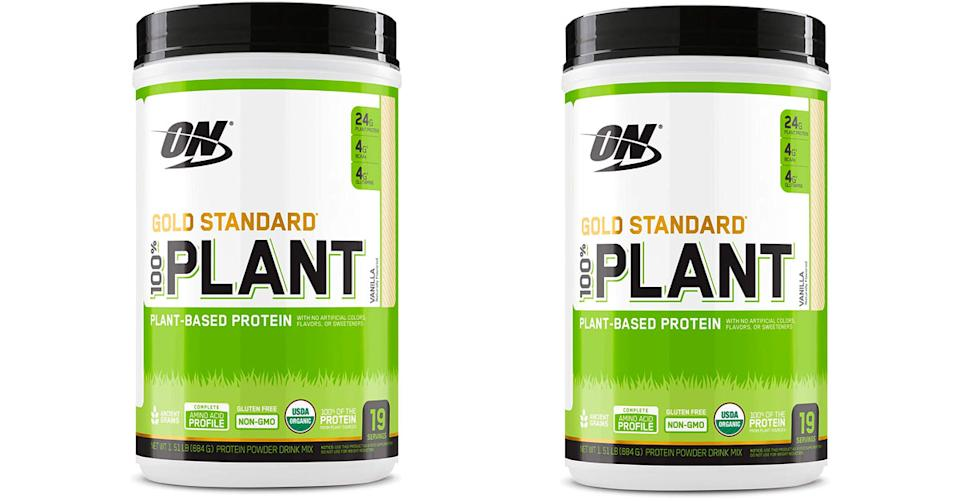 Optimum Nutrition Gold Standard 100% Plant Based Protein Powder is 31 percent off. (Photo: Amazon)