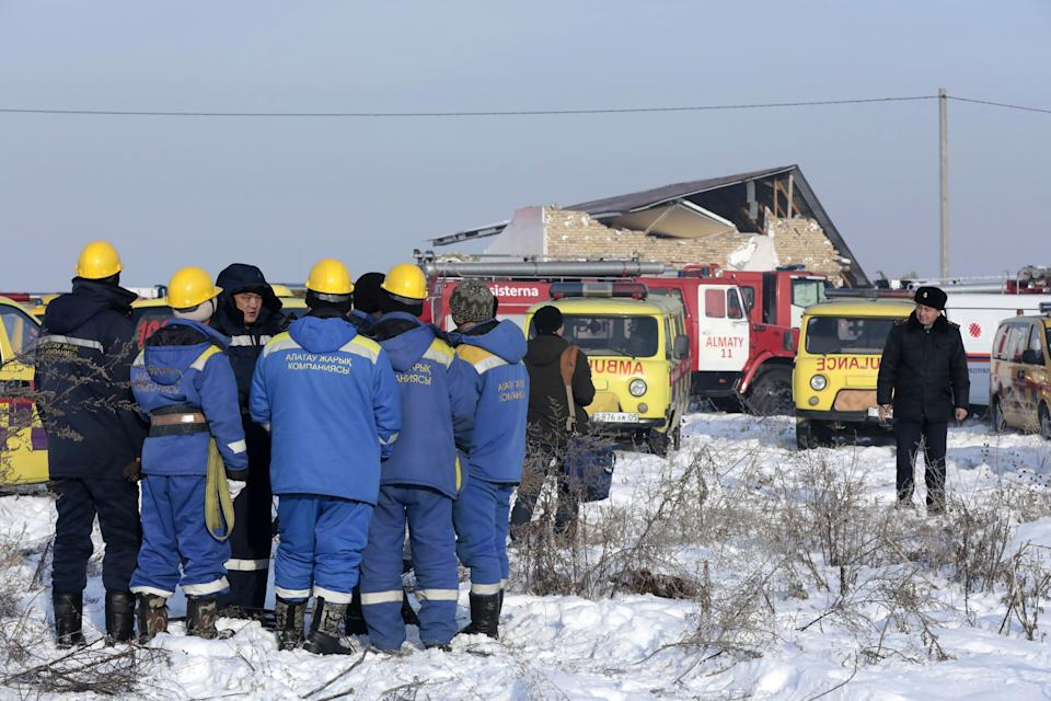 ALMATY, KAZAKHSTAN - DECEMBER 27, 2019: The site of a crash of a Bek Air plane carrying 95 passengers and 5 crew members near Almaty Airport. A Bek Air Fokker 100 passenger plane flying from Almaty to Nur-Sultan has crashed minutes after takeoff, broken through a concrete guardrail and clashed into a two-storey building. The accident has killed at least 14 people, dozens have been injured. Alexander Pavsky/TASS (Photo by Alexander Pavsky\TASS via Getty Images)